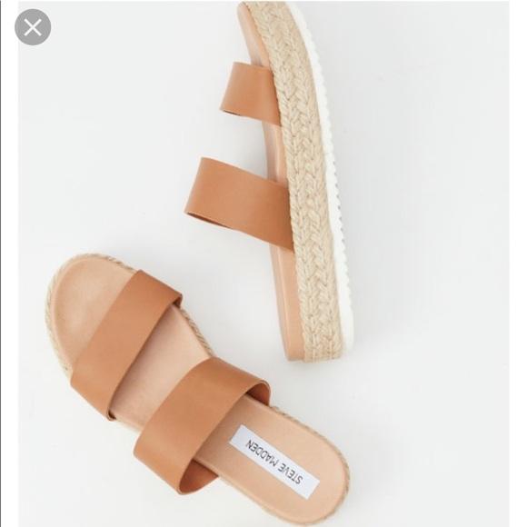 37c17e07d8c STEVE MADDEN Amaze platform sandals tan leather
